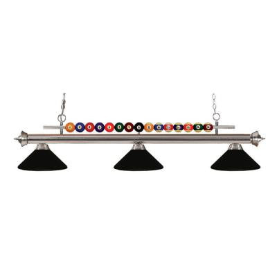 Kerstin 3-Light Brushed Nickel Billiard Light