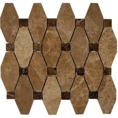 Artois Pattern Hexagon Light Emperador With Dark Emperador Dot 12 in. x 12 in. x 8 mm Marble Mosaic Floor and Wall Tile