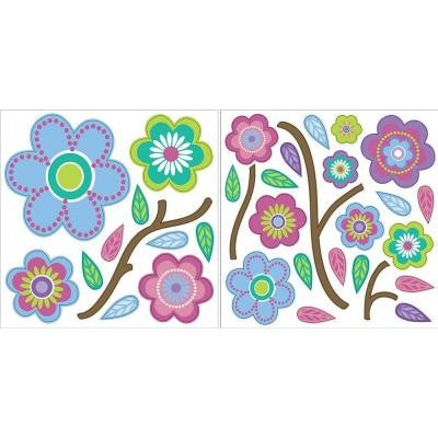 13 in. x 13 in. 68-Piece Cutsie Blooms Wall Decal