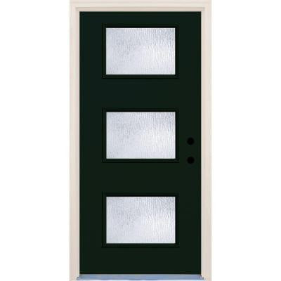 36 in. x 80 in. Fairway 3 Lite Rain Glass Painted Fiberglass Prehung Front Door with Brickmould