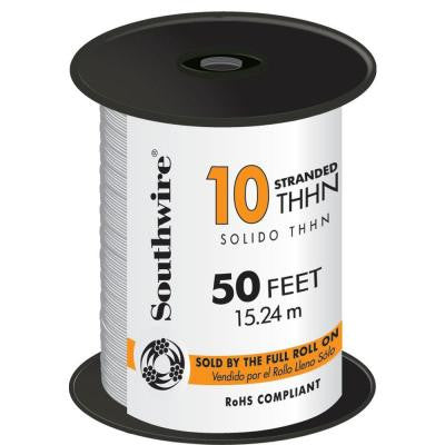 50 ft. 10 Stranded THHN Wire - White