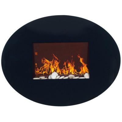 34 in. Wall-Mount Oval Glass Electric Fireplace in Black
