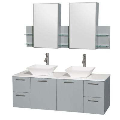 Amare 60 in. W x 22.25 in. D Vanity in Dove Gray with Solid-Surface Vanity Top in White with White Basins and Cab Mirror