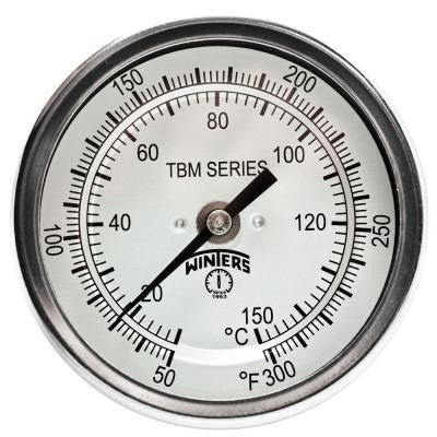 TBM Series 2 in. Dial Thermometer with Fixed Center Back Connection and 2.5 in. Stem with Range of 50-300°F/C