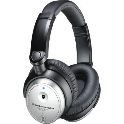 QuietPoint Active Noise-Cancelling Over-Ear Headphones - Silver