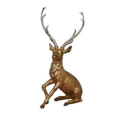 26.5 in. Sitting Gold and Silver Glittered Resin Reindeer