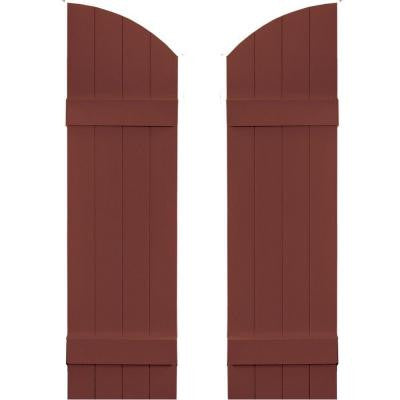 14 in. x 45 in. Board-N-Batten Shutters Pair, 4 Boards Joined with Arch Top #027 Burgundy Red