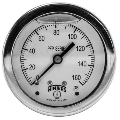 PFP Series 2.5 in. Stainless Steel Liquid Filled Case Pressure Gauge with 1/4 in. NPT CBM and Range of 0-160 psi