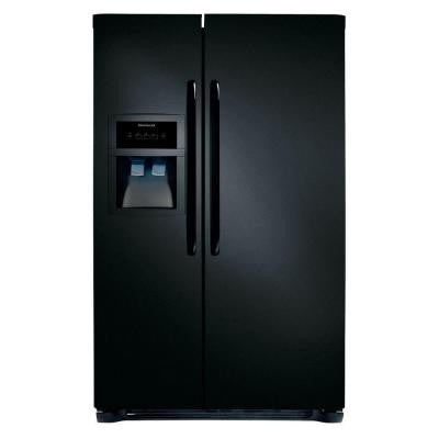 33 in. W 22.07 cu. ft. Side by Side Refrigerator in Black