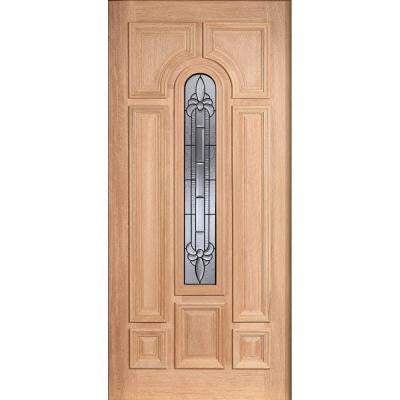 36 in. x 80 in. Mahogany Type Unfinished Beveled Patina Arch Glass Solid Wood Front Door Slab