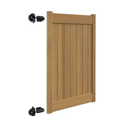 Linden 4 ft. x 6 ft. Cypress Vinyl Un-Assembled Fence Gate
