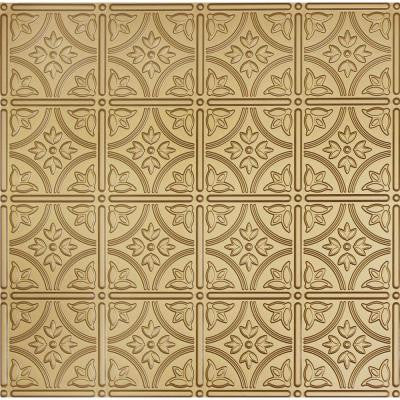 Dimensions 2 ft. x 2 ft. Brass Tin Ceiling Tile for Refacing in T-Grid Systems