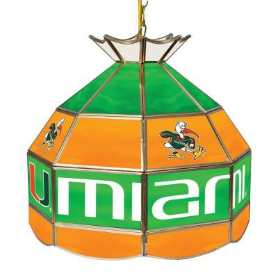 University of Miami Sebastian Hanging Tiffany Style Lamp