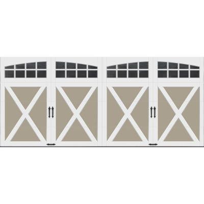 Coachman Collection 16 ft. x 7 ft. 18.4 R-Value Intellicore Insulated Sandtone Garage Door with Arch Window