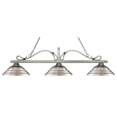 Morris 3-Light Antique Silver Island Light with Brushed Nickel Shades