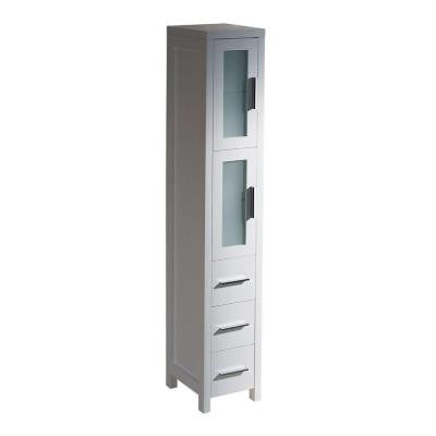 Torino 12 in. W Tall Linen Storage Cabinet in White