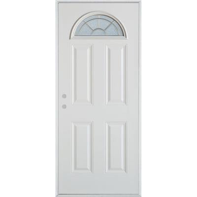 32 in. x 80 in. Geometric Zinc Fan Lite 4-Panel Prefinished White Right-Hand Inswing Steel Prehung Front Door