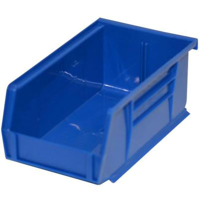 4-1/8 in. W x 7-3/8 in. D x 3 in. H Stackable Plastic Storage Bin in Blue (24-Pack)