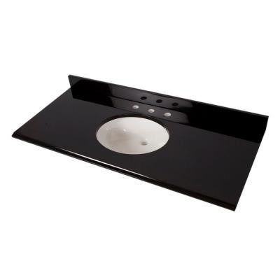 49 in. x 22 in. Colorpoint Vanity Top in Black with White Bowl