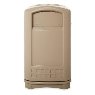 Plaza 50 Gal. Beige Indoor/Outdoor Trash Can