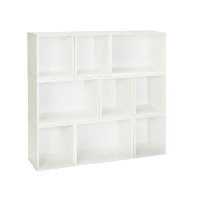 Oxford 9-Compartment Stackable Modular Bookcase and Eco Storage Shelf in White