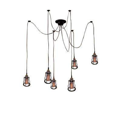 Edison Salome Collection 6-Light Black Indoor Chandelier