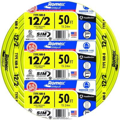 50 ft. 12/2 SIMpull Yellow NM-B Wire