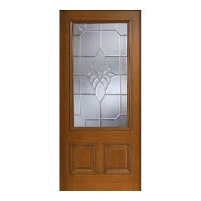 36 in. x 80 in. Mahogany Type Prefinished Cherry Beveled Zinc 3/4 Glass Solid Wood Front Door Slab