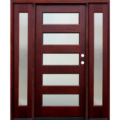 70 in. x 80 in. 5 Lite Mistlite Stained Mahogany Wood Prehung Front Door w/ 6 in. Wall Series, 12 in. Sidelites