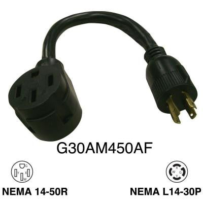 1 ft. 30 Amp Generator Male 4 Prong to RV 50 Amp Female Adapter