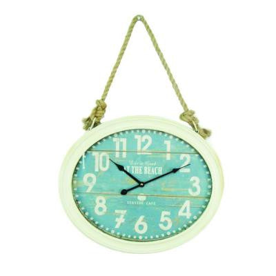 20 in. x 16.5 in. Circular MDF Wall Clock with Rope in Mint Green Frame