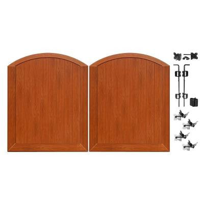 Pro Series 5 ft. x 6 ft. Rosewood Vinyl Anaheim Privacy Double Drive Through Arched Fence Gate