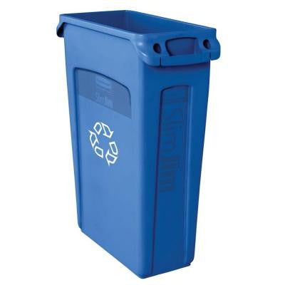 Slim Jim 23 Gal. Blue Recycling Container with Venting Channels