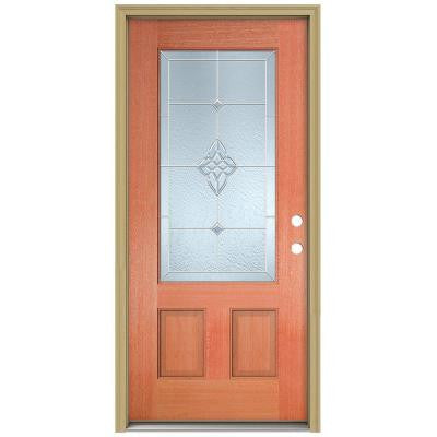 36 in. x 80 in. Rosemont 3/4 Lite Unfinished Mahogany Wood Prehung Front Door with Brickmould and Zinc Caming