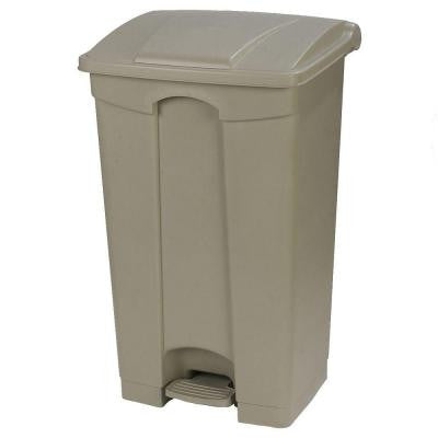 12 Gal. Beige Rectangular Touchless Step-On Trash Can with Matching Lid