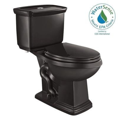 2-piece 1.0 GPF/1.28 GPF Dual Flush Elongated Toilet in Black