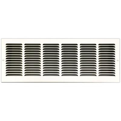 24 in. x 8 in. Base Board Return Air Vent Grille with Fixed Blades, White