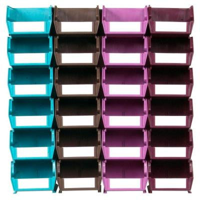 LocBin Small Wall Storage Bin (24-Piece) with 2-Wall Mount Rails in Multi Colored