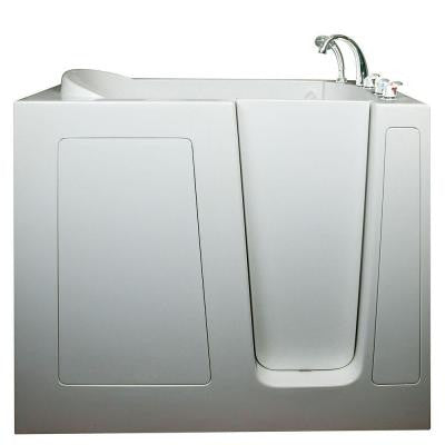 Deep 4.58 ft. x 30 in. Walk-In Soaking Bathtub in White with Right Drain/Door