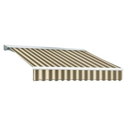 10 ft. DESTIN EX Model Left Motor Retractable with Hood Awning (96 in. Projection) in Brown and Tan Multi Stripe