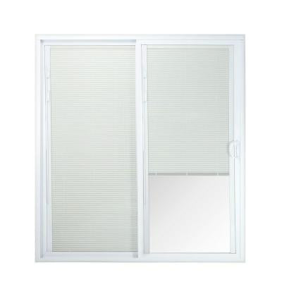 72 in. x 80 in. 50 Series White Vinyl Right-Hand Assembled Patio Door with Built in Blinds