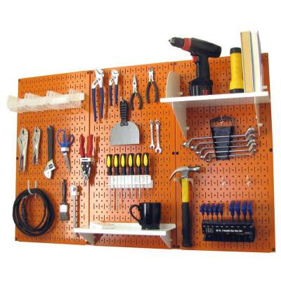 32 in. x 48 in. Metal Pegboard Standard Tool Storage Kit with Orange Pegboard and White Peg Accessories