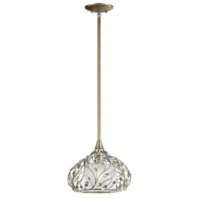 Winter Forest 1-Light Aged Silver Ceiling Mount Pendant