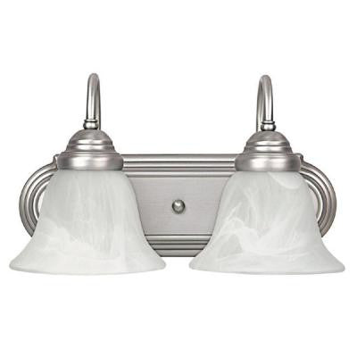 2-Light Matte Nickel Vanity Light with Faux White Alabaster Glass Shade