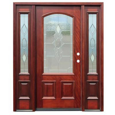 70in.x80in. Traditional 3/4 Arch Lite Stained Mahogany Wood Prehung Front Door w/6 in. Wall Series & 14 in. Sidelites