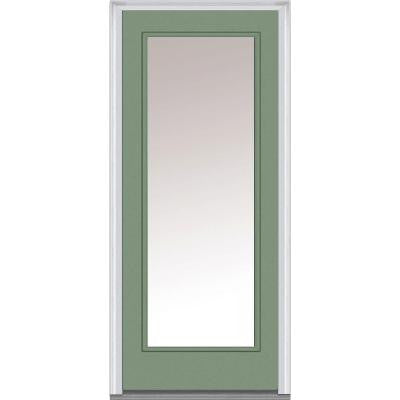 32 in. x 80 in. Classic Clear Glass Full Lite Painted Fiberglass Smooth Prehung Front Door
