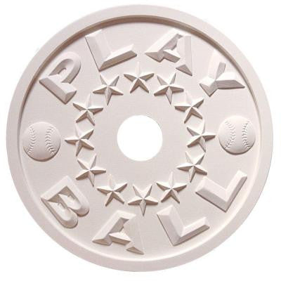 MRC Collection 18 in. x 18 in. x 1/2 in. Play Ball Lightweight Resin Primed White Ceiling Medallion