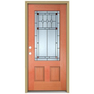 36 in. x 80 in. Ashmore 3/4 Lite Unfinished Mahogany Wood Prehung Front Door with Brickmould and Patina Caming