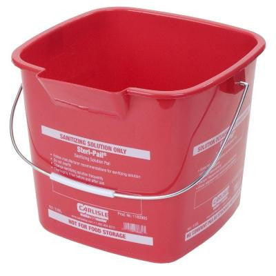 6 Qt. Red Steri-Pail for Sanitizing Solutions (12-Case)