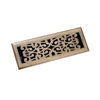 4 in. x 14 in. Scroll Floor Register, Antique Brass